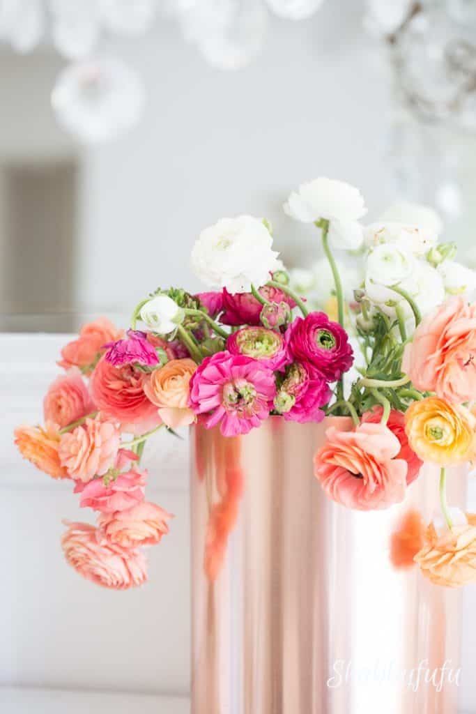 ranunculus in copper vase romantic style home decorating