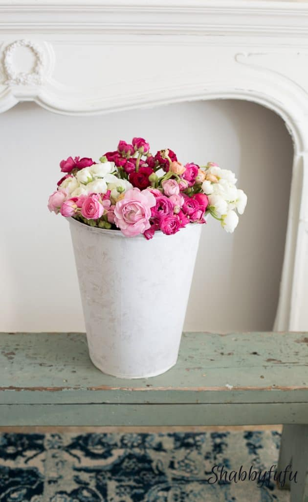 How to Customize a Flower Bucket with Pretty Fabric from Shabby Fu Fu