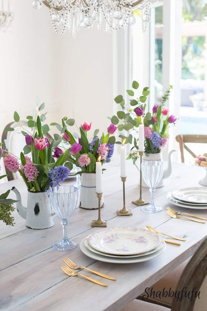 beautiful spring tablesetting with pastel decorations