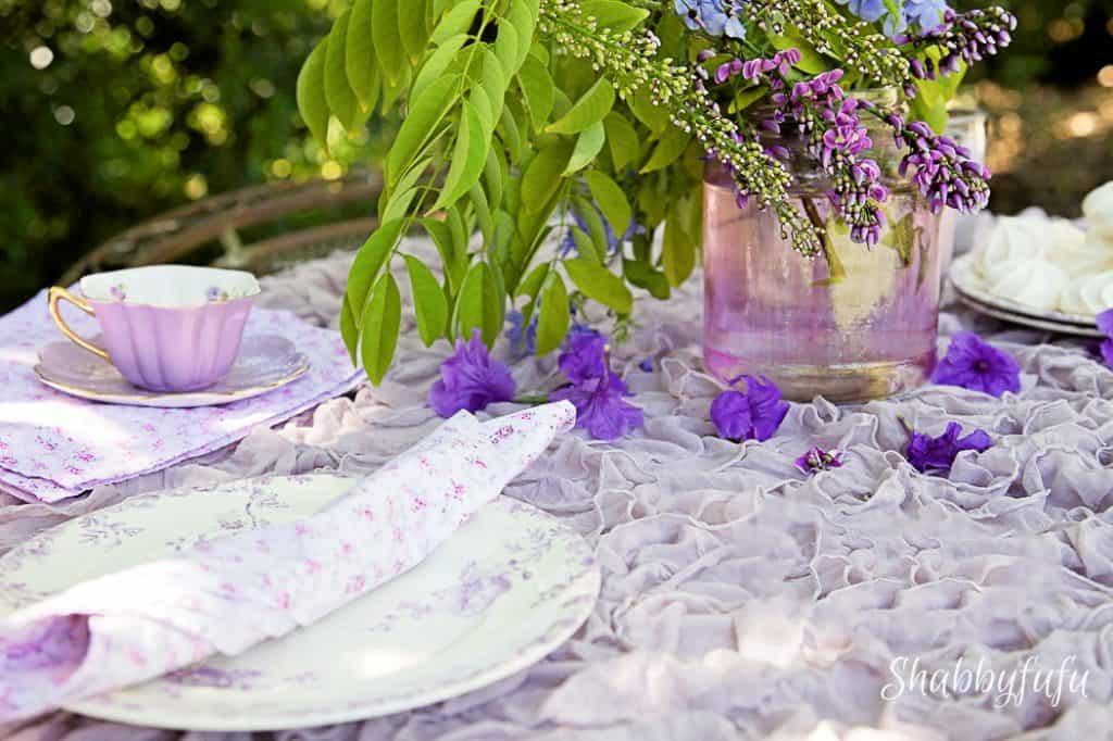 pretty tablescape with purple