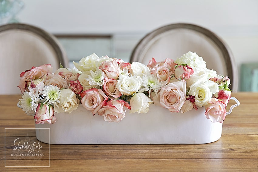 pink and white roses centerpiece