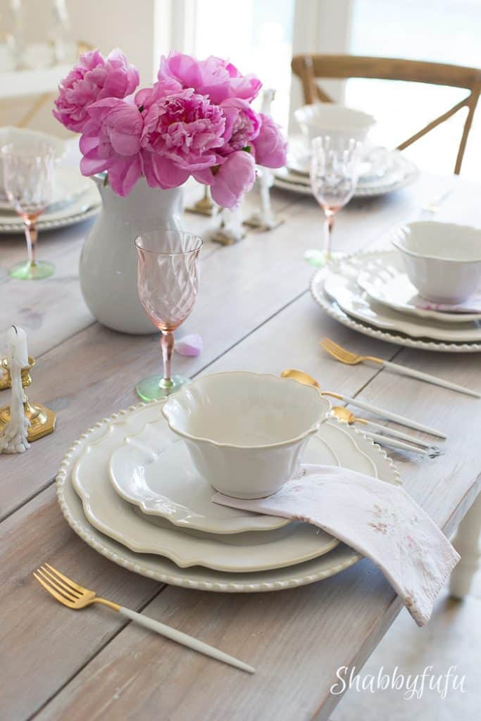 table-setting-pink-peonies-ironstone & Practical Table Setting Ideas For Sizable Results - shabbyfufu.com