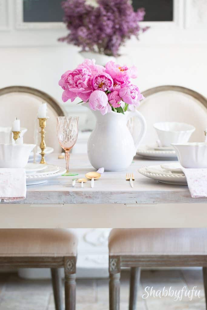 shabby-chic-white-pink-tablescape & Practical Table Setting Ideas For Sizable Results - shabbyfufu.com