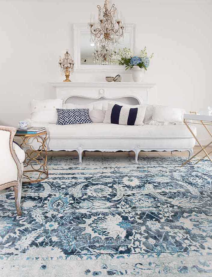 chic living room white and blue