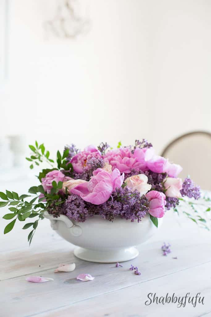 lilac and peony floral arrangement