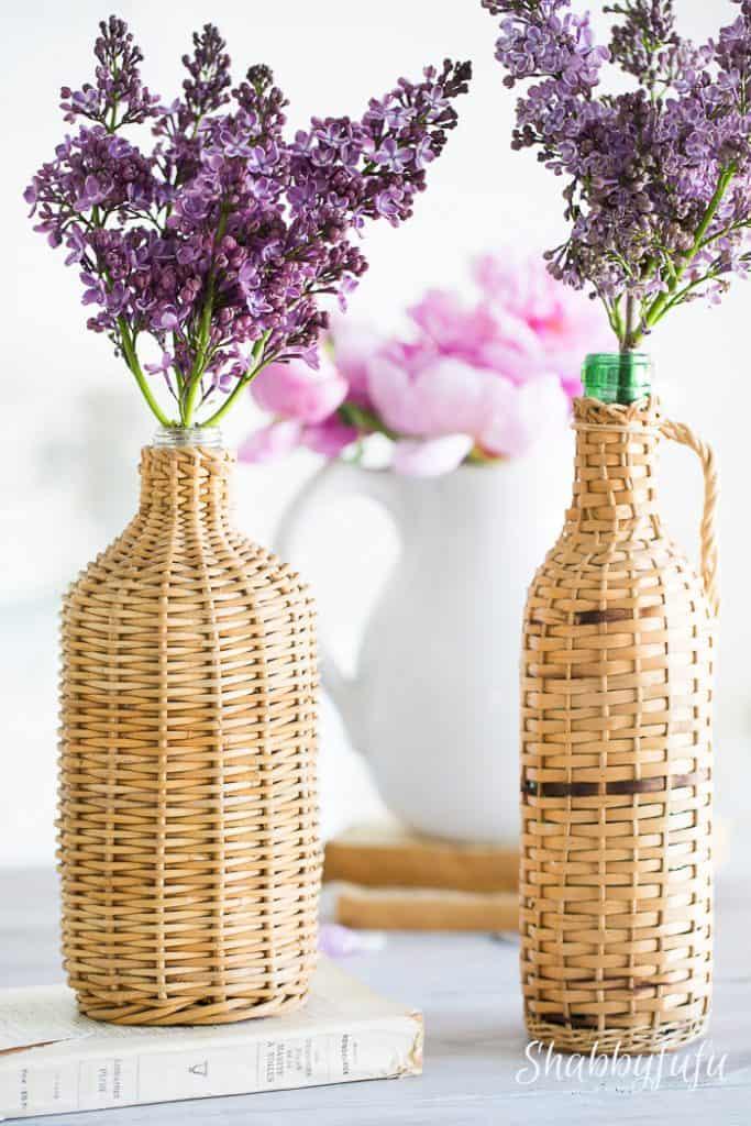 lilacs in french wine demijohn bottles