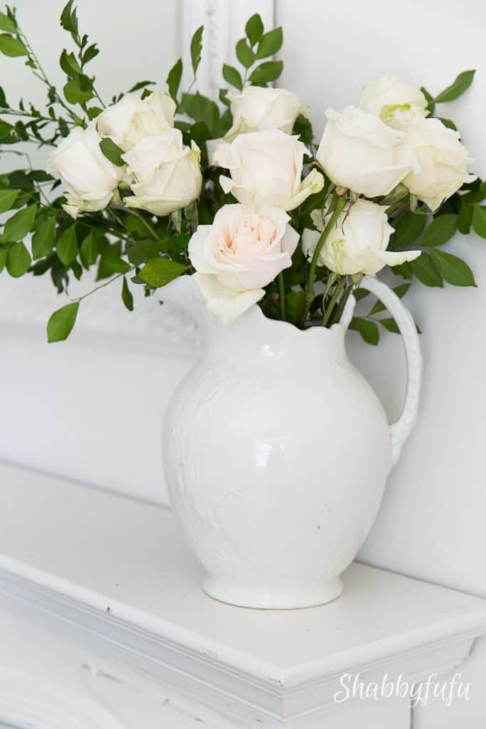 white vintage ironstone pitcher with roses