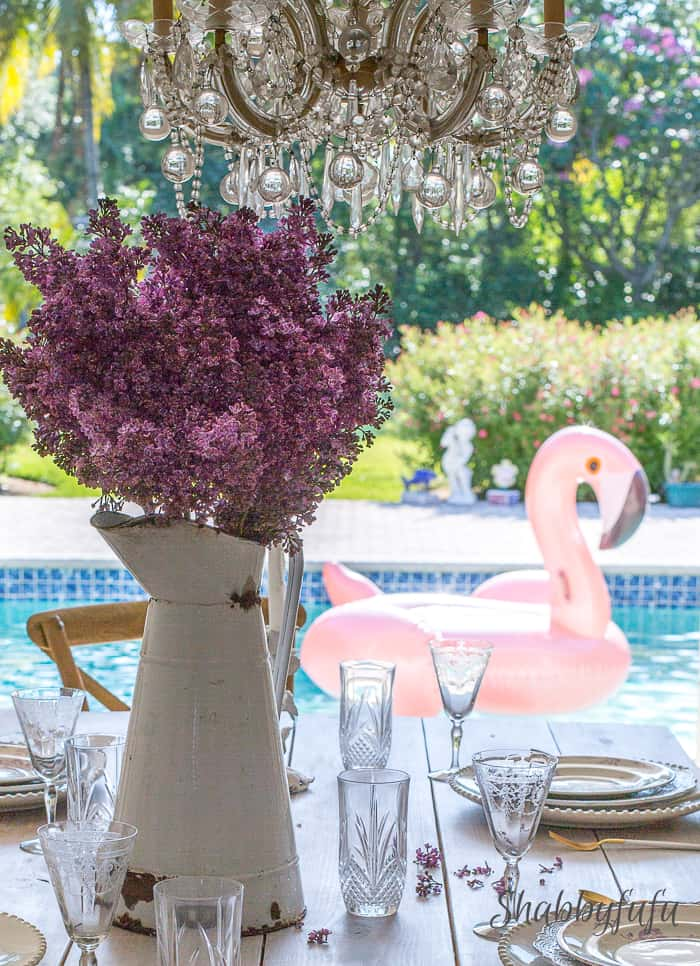 table setting poolside in Miami