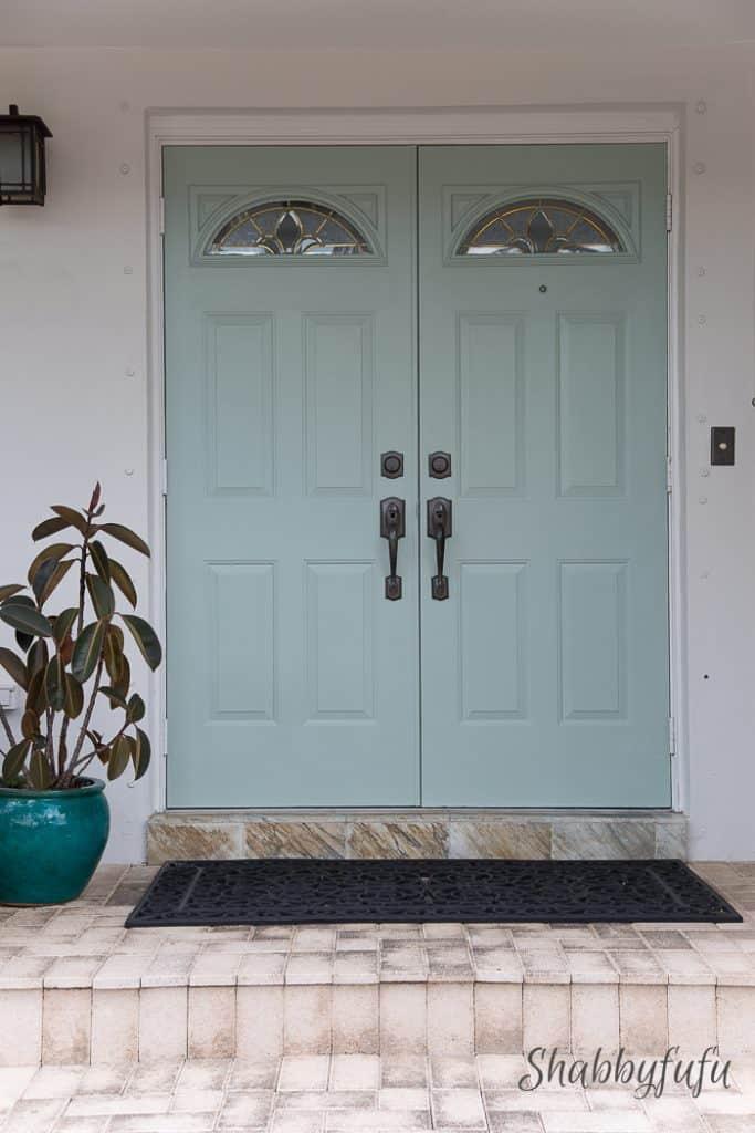 double doors coastal green blue