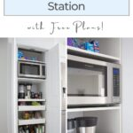 pinterest graphic of kitchen coffee hidden cabinet idea diy