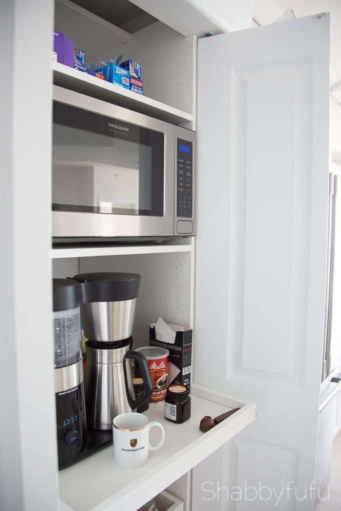Hidden Coffee Station and Microwave cabinet
