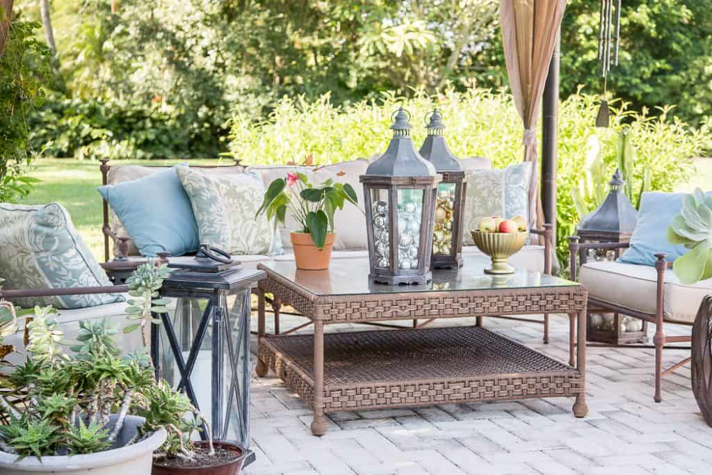 patio entertaining set with pottery barn lanterns