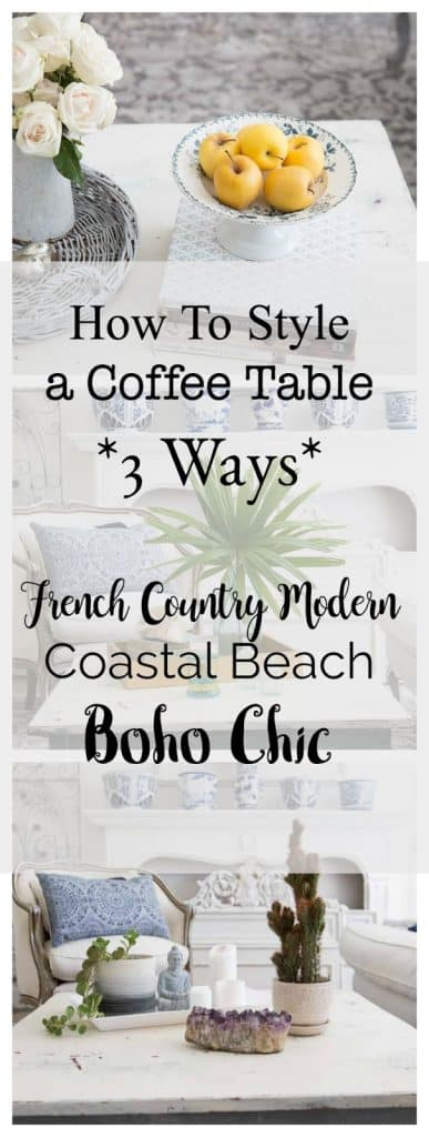 Looking for a coffee table style that will go perfectly with your home? Here are three ways that you can make that happen with ease! #coffeetablestyling #homedecor #coffeetable #interiordecorating #decoratingideas