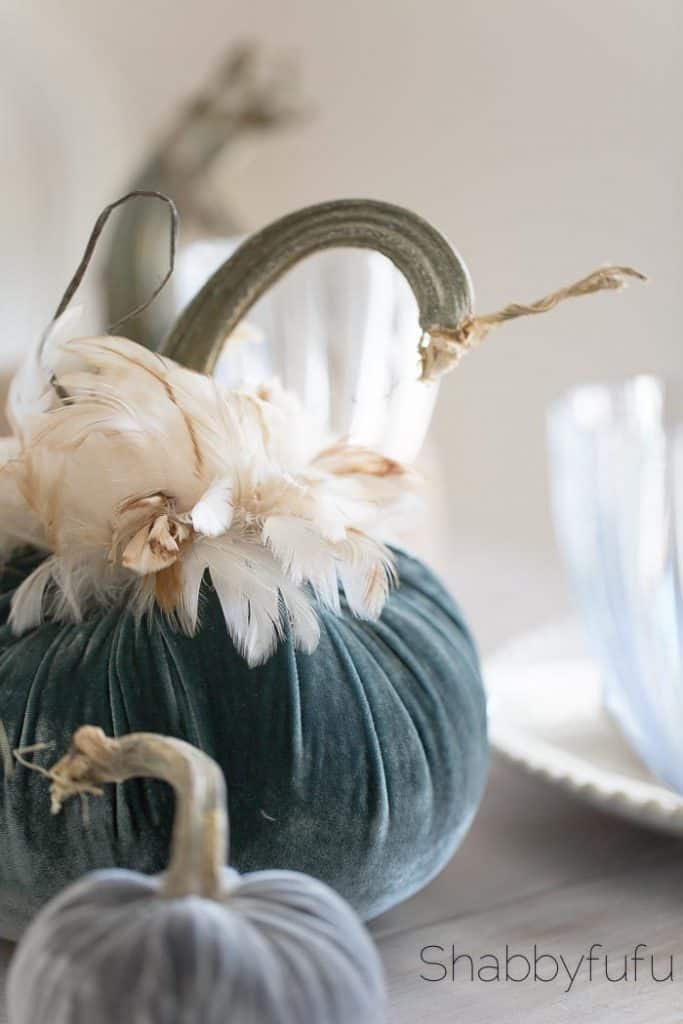 fall tablescape with velvet pumpkins