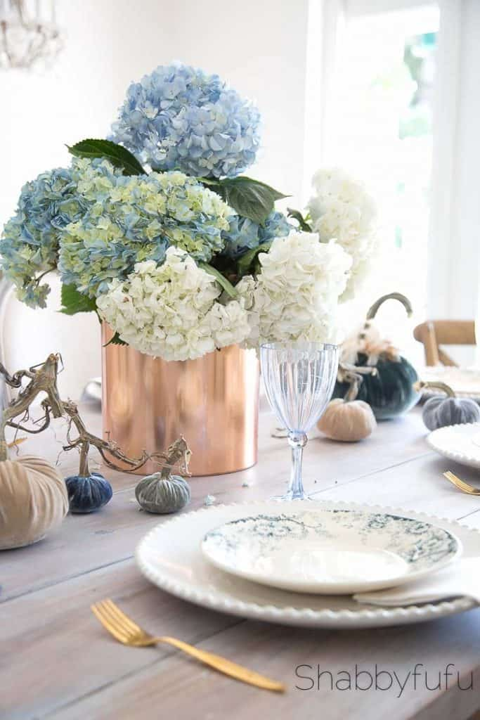blue and white hydrangeas fall centerpiece