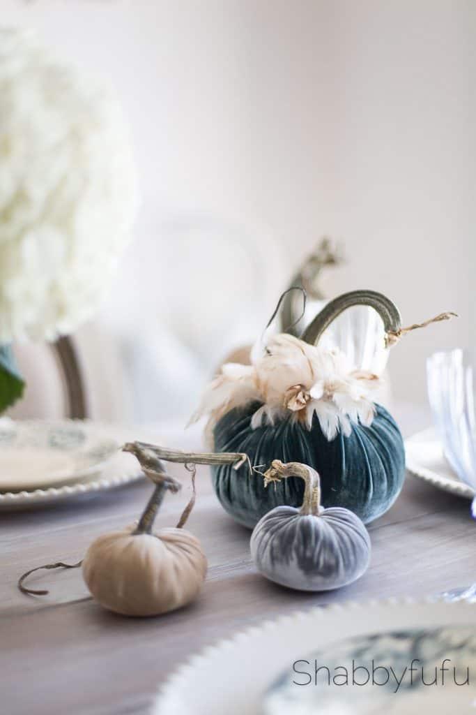 grey velvet pumpkins styling fall autumn - velvet pumpkins for fall