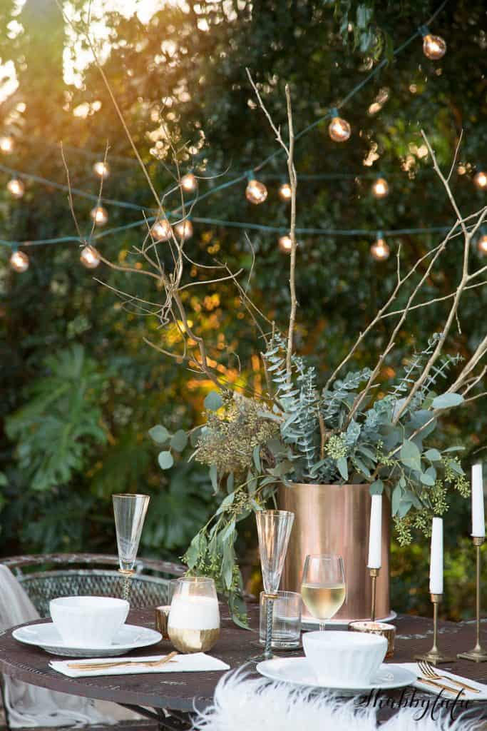 fall garden decorating twinkle lights - early fall decorating ideas