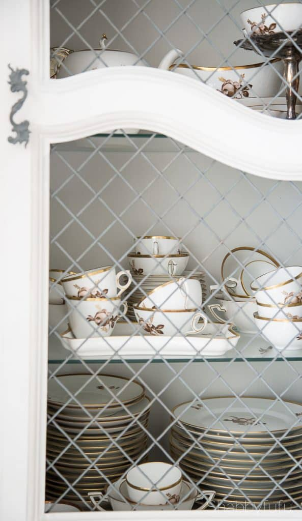 french china cabinet with chicken wire
