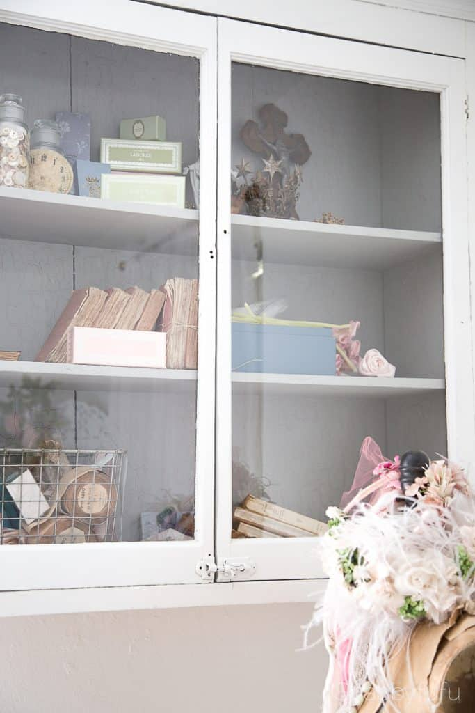 vintage glass storage cabinet