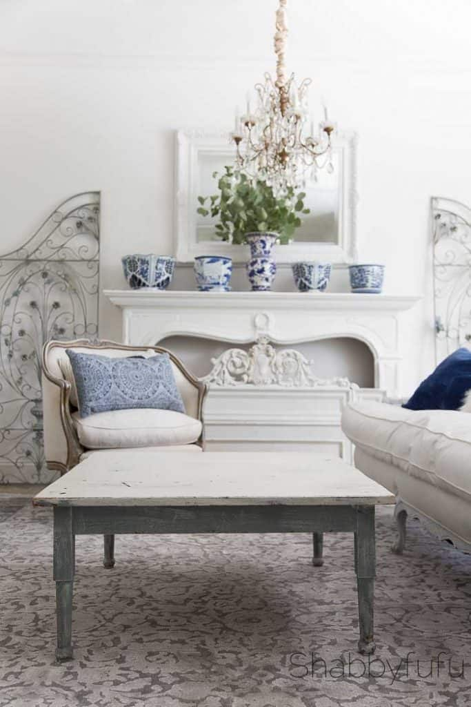 french living room coffee table styling