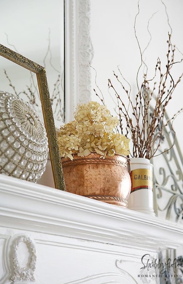 fall mantel with hydrangeas