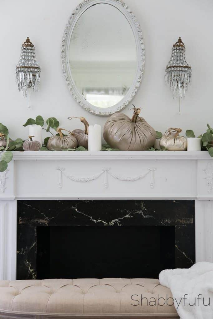 french country fall mantel with metallic pumpkins