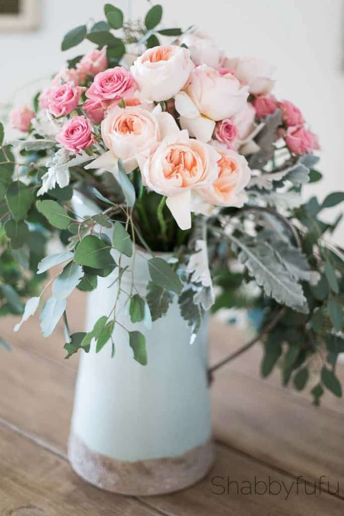 david austin juliet peach roses centerpiece