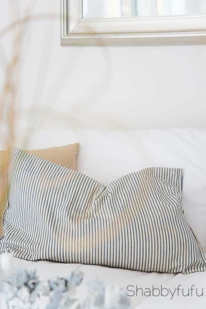 vintage ticking stripe pillow shabbyfufu