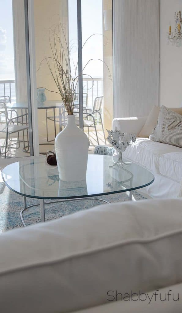 beach house with white pottery barn slipcovered sofa