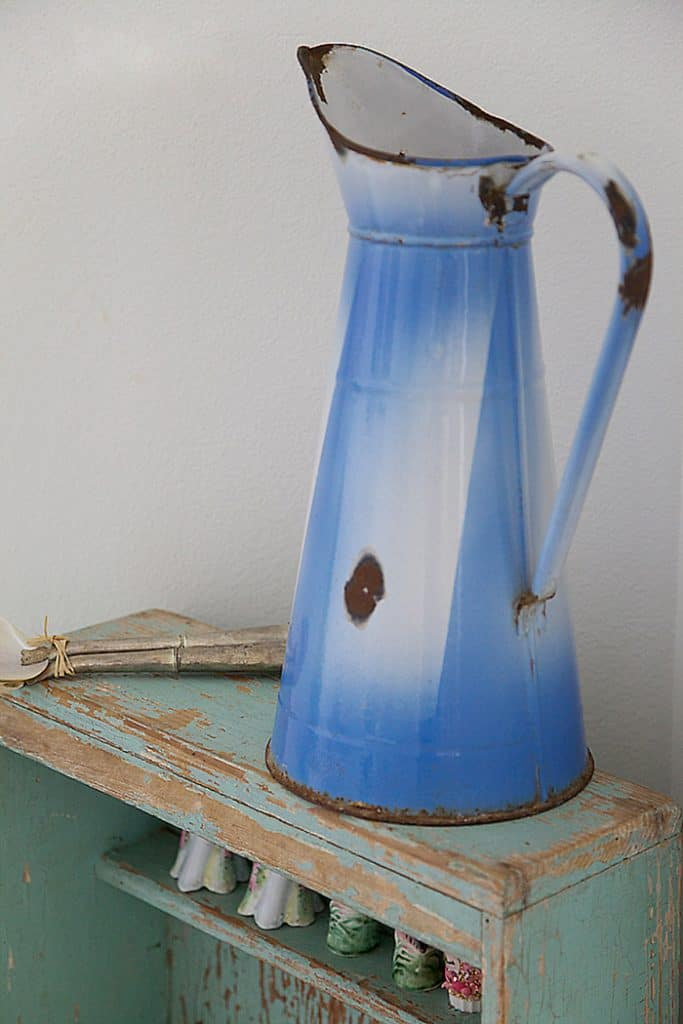 blue french enamelware pitcher