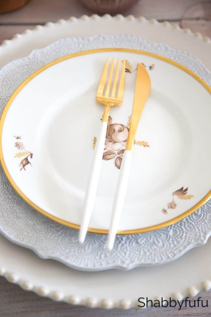 modern white and gold flatware