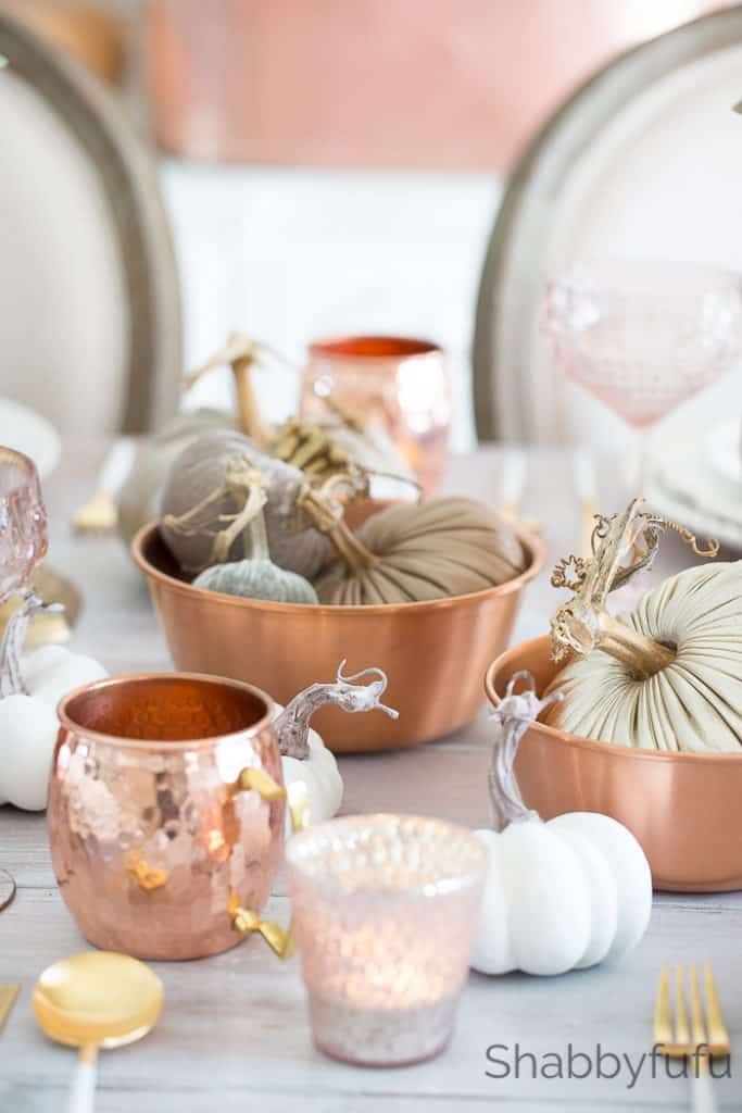 copper and blush fall decor