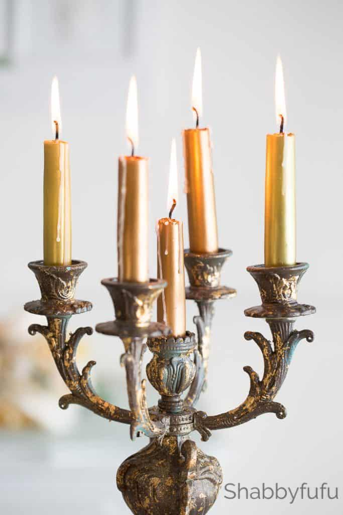 gold leafed vintage candelabra