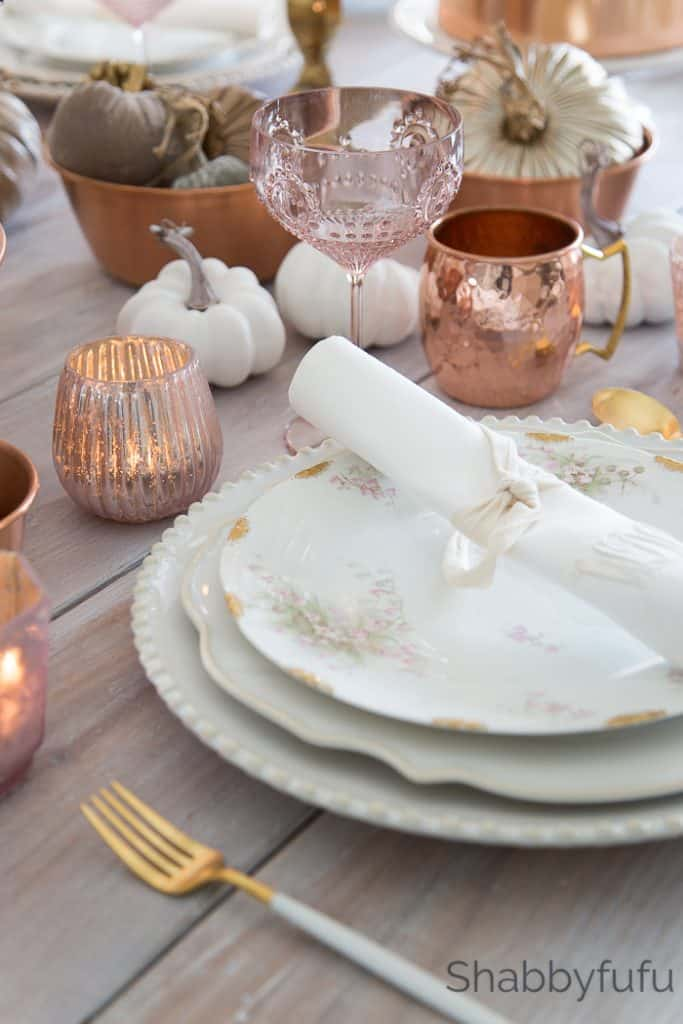 fall table setting with copper gold and blush pink