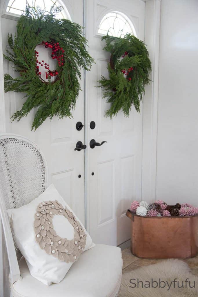 elegant french christmas entryway