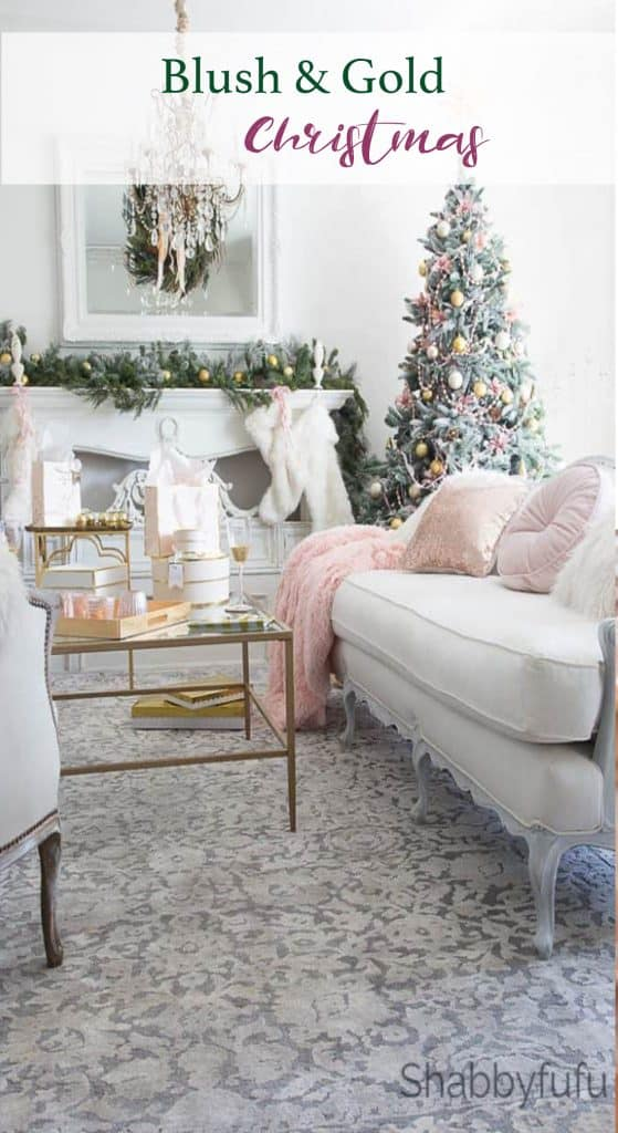 blush and gold christmas decor