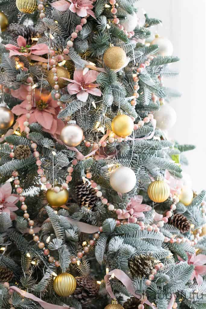 blush pink christmas ideas pink-christmas-tree-trimmings