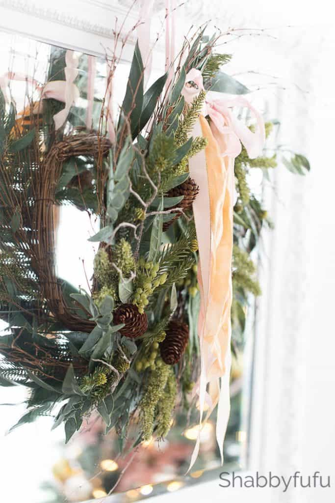 rustic-faux-holiday-wreath-pink-ribbon