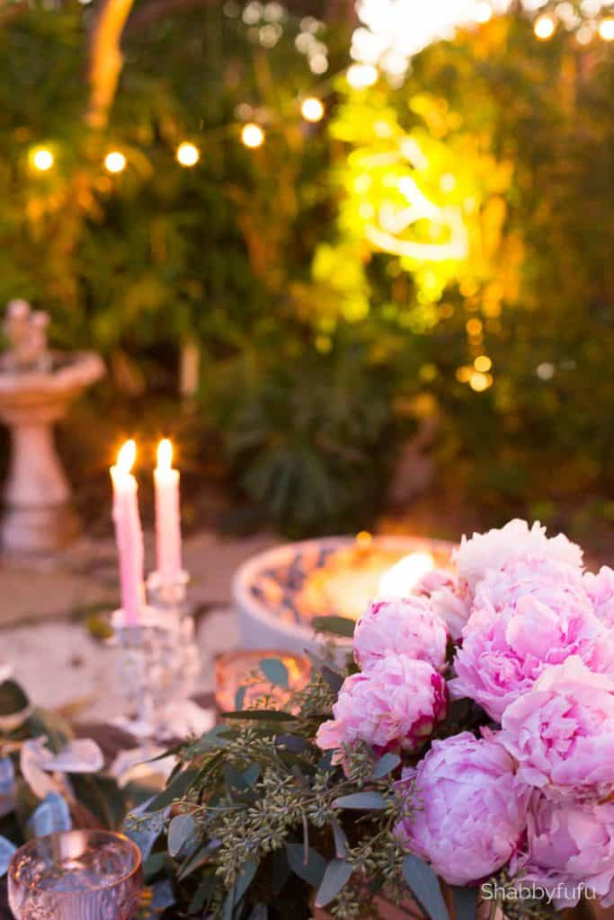 pink peonies night dining