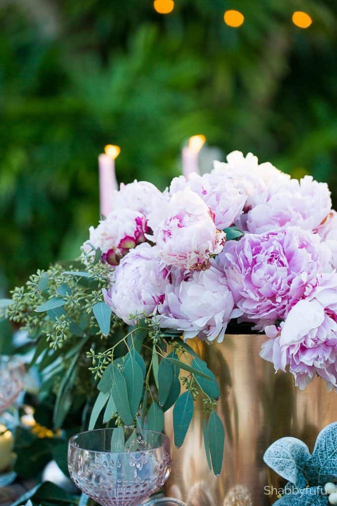 blush peonies seeded eucalyptus