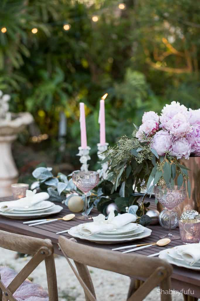 elegant tablescape outdoor entertaining garden peonies