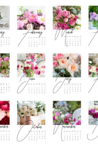 Free Floral Printable Calendar For 2018