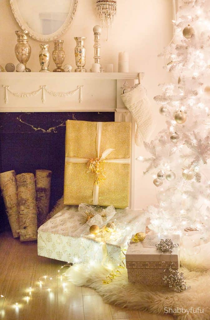 shabbyfufu christmas mantel night white christmas tree