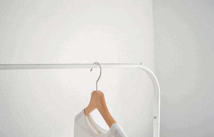 white tshirt hanger empty closet declutter