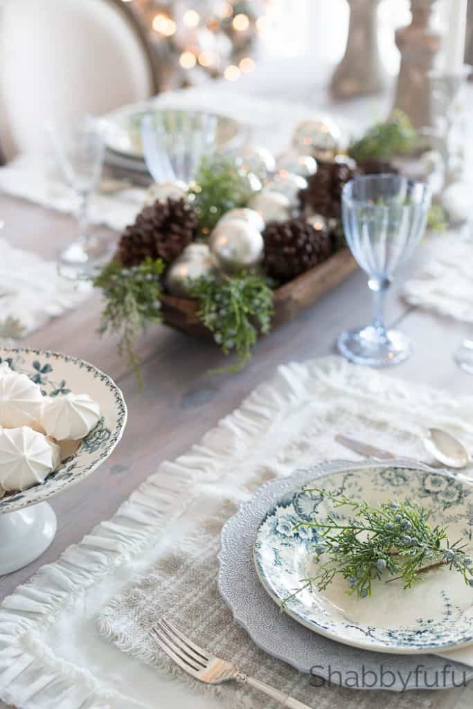 blue and white farmhouse christmas