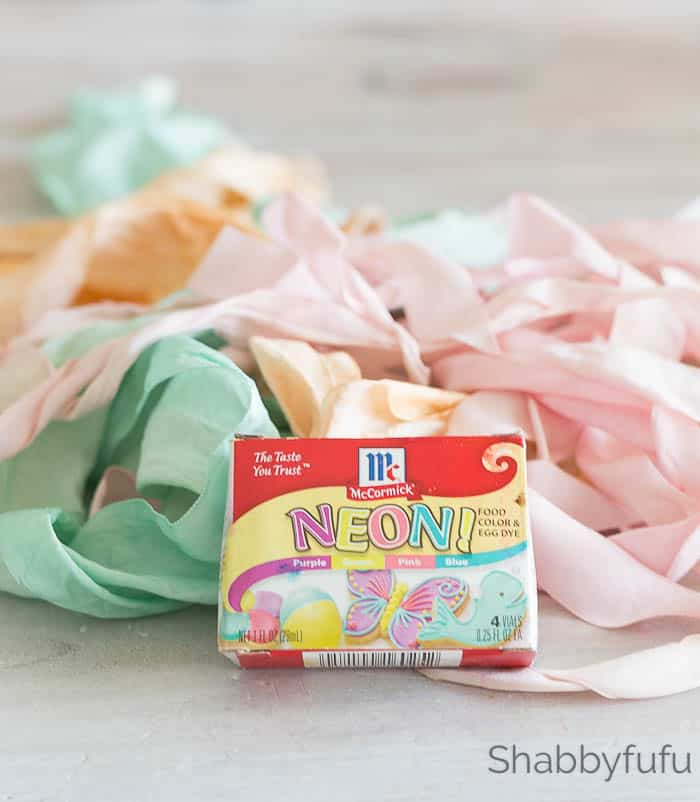 food coloring to paint ribbon