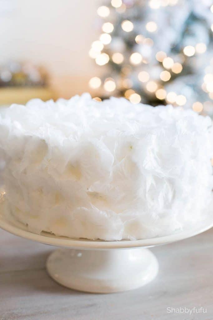 faux white wedding cake rose petals