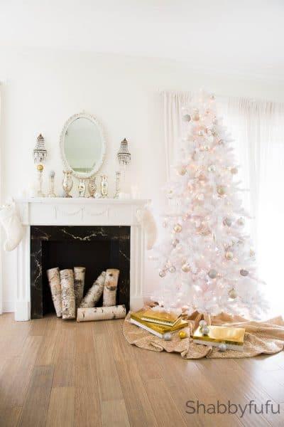 A Glistening Snowy White Flocked Christmas Tree