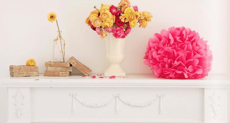 tissue paper crafts mantel-spring-pom-poms-shabbyfufu
