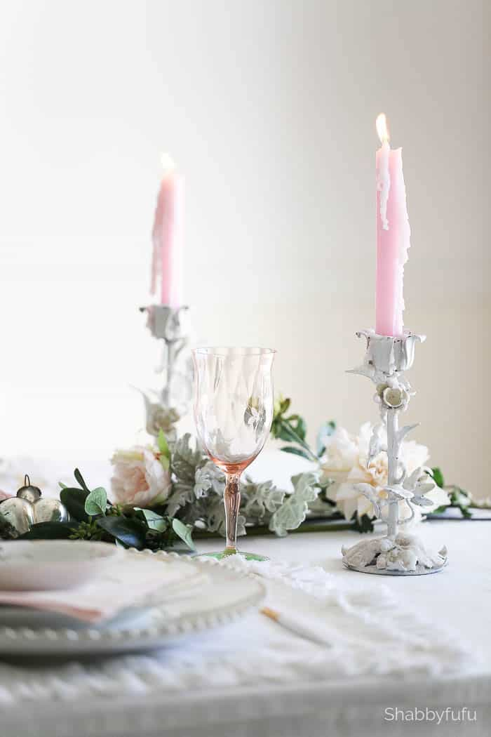 pink candles toleware table setting tips